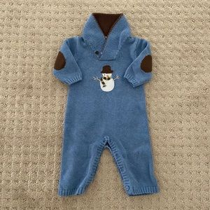 Janie & Jack Baby Boys Snowman Sweater Coverall